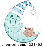 Clipart Of A Black Baby Boy Sleeping On A Happy Blue Crescent Moon Wearing A Hat Royalty Free Vector Illustration