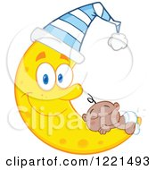 Clipart Of A Black Baby Boy Sleeping On A Happy Crescent Moon Wearing A Hat Royalty Free Vector Illustration