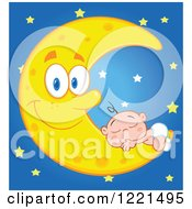 Clipart Of A Caucasian Baby Sleeping On A Happy Crescent Moon Over Blue With Stars Royalty Free Vector Illustration