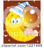 Clipart Of A Caucasian Baby Sleeping On A Happy Crescent Moon Wearing A Cap With Stars Royalty Free Vector Illustration