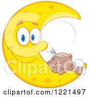 Clipart Of A Black Baby Sleeping On A Happy Crescent Moon Royalty Free Vector Illustration