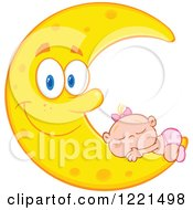 Clipart Of A Caucasian Baby Girl Sleeping On A Happy Crescent Moon Royalty Free Vector Illustration