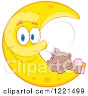 Clipart Of A Black Baby Girl Sleeping On A Happy Crescent Moon Royalty Free Vector Illustration