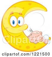 Clipart Of A Caucasian Baby Sleeping On A Happy Crescent Moon Royalty Free Vector Illustration