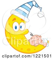 Clipart Of A Caucasian Baby Sleeping On A Happy Crescent Moon Wearing A Cap Royalty Free Vector Illustration