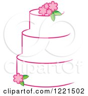Three Tiered White Cake With Pink Flowers