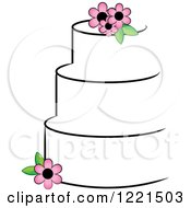 Round Three Tiered White Cake With Pink Flowers