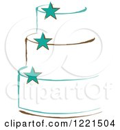 Clipart Of A Three Tiered White Cake With Turquoise Stars Royalty Free Vector Illustration