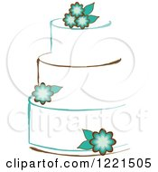 Clipart Of A Three Tiered White Cake With Turqoise Flowers Royalty Free Vector Illustration