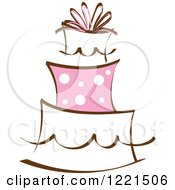 Clipart Of A Three Tiered Cake With Pink Polka Dots Royalty Free Vector Illustration
