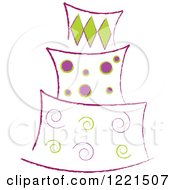 Three Tiered Green And Purple Cake