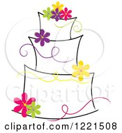 Three Tiered Cake With Colorful Flowers And Ribbons