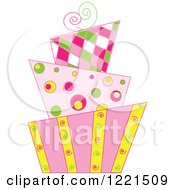 Clipart Of A Modern Funky Patterned Wedding Or Birthday Cake Royalty Free Vector Illustration