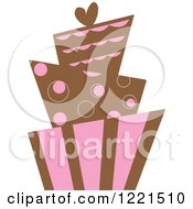 Clipart Of A Modern Funky Pink And Brown Wedding Or Birthday Cake Royalty Free Vector Illustration