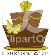 Clipart Of A Modern Funky Green And Brown Wedding Or Birthday Cake Royalty Free Vector Illustration