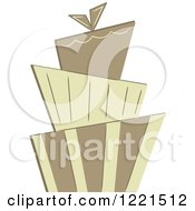 Clipart Of A Three Tiered Funky Wedding Or Birthday Cake Royalty Free Vector Illustration