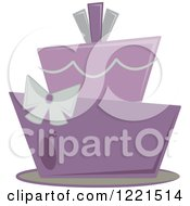 Clipart Of A Funky Modern Purple And Gray Wedding Or Birthday Cake Royalty Free Vector Illustration