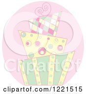 Clipart Of A Modern Pastel Funky Patterned Wedding Or Birthday Cake Royalty Free Vector Illustration