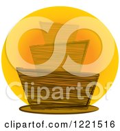 Clipart Of A Sketched Funky Cake Over An Orange Circle Royalty Free Vector Illustration
