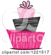 Clipart Of A Scribbled Pink And Black Funky Birthday Or Wedding Cake Royalty Free Vector Illustration