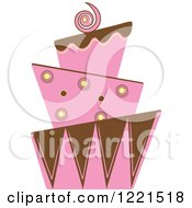 Clipart Of A Modern Funky Pink And Brown Wedding Or Birthday Cake 2 Royalty Free Vector Illustration