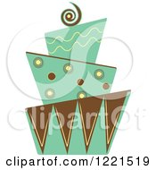 Clipart Of A Modern Funky Green And Brown Patterned Wedding Or Birthday Cake Royalty Free Vector Illustration