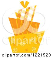 Clipart Of A Modern Funky Orange Patterned Wedding Or Birthday Cake Royalty Free Vector Illustration