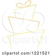 Clipart Of A Yellow And Orange Funky Wedding Or Birthday Cake Sketch Royalty Free Vector Illustration