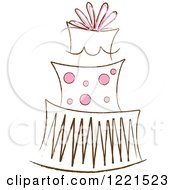 Clipart Of A Three Tiered Cake With Pink Polka Dots 2 Royalty Free Vector Illustration