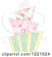 Clipart Of A Pastel Modern Funky Patterned Wedding Or Birthday Cake Royalty Free Vector Illustration
