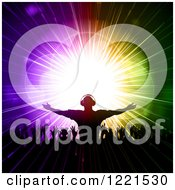 Clipart Of A Silhouetted Male Dj Over Dancing Fans And Colorful Lights Royalty Free Vector Illustration