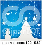 Clipart Of A White Paper Christmas Tree And Snowman With Suspended Stars On Blue Royalty Free Vector Illustration by elaineitalia