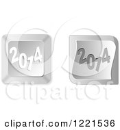 Clipart Of 3d Silver New Year 2014 Computer Button Icons Royalty Free Vector Illustration by Andrei Marincas