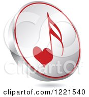 Clipart Of A 3d Floating Silver And Red Heart Music Note Icon Royalty Free Vector Illustration by Andrei Marincas