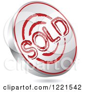 Clipart Of A 3d Floating Silver And Red Sold Icon Royalty Free Vector Illustration