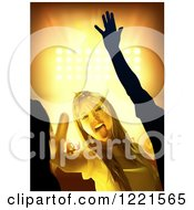Clipart Of A Young Woman Dancing At A Party With Bright Lights Royalty Free Vector Illustration