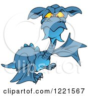 Clipart Of A Blue Dragon With A Beard Royalty Free Vector Illustration by dero