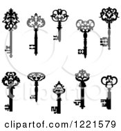 Clipart Of Black And White Antique Skeleton Keys 2 Royalty Free Vector Illustration