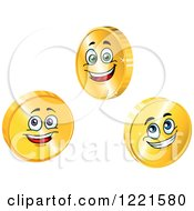 Clipart Of Happy Gold Coin Characters Royalty Free Vector Illustration