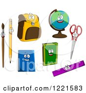 Clipart Of School Item And Supply Characters Royalty Free Vector Illustration
