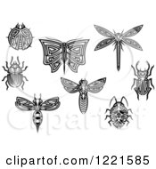 Clipart Of Black And White Tribal Insects 2 Royalty Free Vector Illustration by Vector Tradition SM
