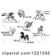 Clipart Of Horses With Text 2 Royalty Free Vector Illustration