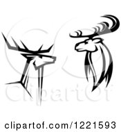 Clipart Of Black And White Deer With Antlers 5 Royalty Free Vector Illustration