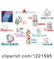 Clipart Of Medical Science And Dental Designs And Text 3 Royalty Free Vector Illustration