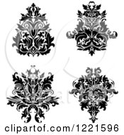 Clipart Of Black And White Floral Damask Designs 2 Royalty Free Vector Illustration