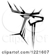 Clipart Of A Black And White Deer With Antlers 5 Royalty Free Vector Illustration by Vector Tradition SM