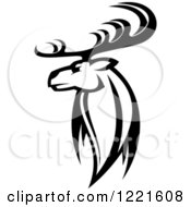 Clipart Of A Black And White Deer With Antlers 6 Royalty Free Vector Illustration by Vector Tradition SM