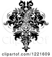 Clipart Of A Black And White Floral Damask Design 9 Royalty Free Vector Illustration