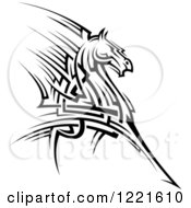 Clipart Of A Black And White Running Tribal Horse 2 Royalty Free Vector Illustration