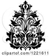 Clipart Of A Black And White Floral Damask Design 6 Royalty Free Vector Illustration